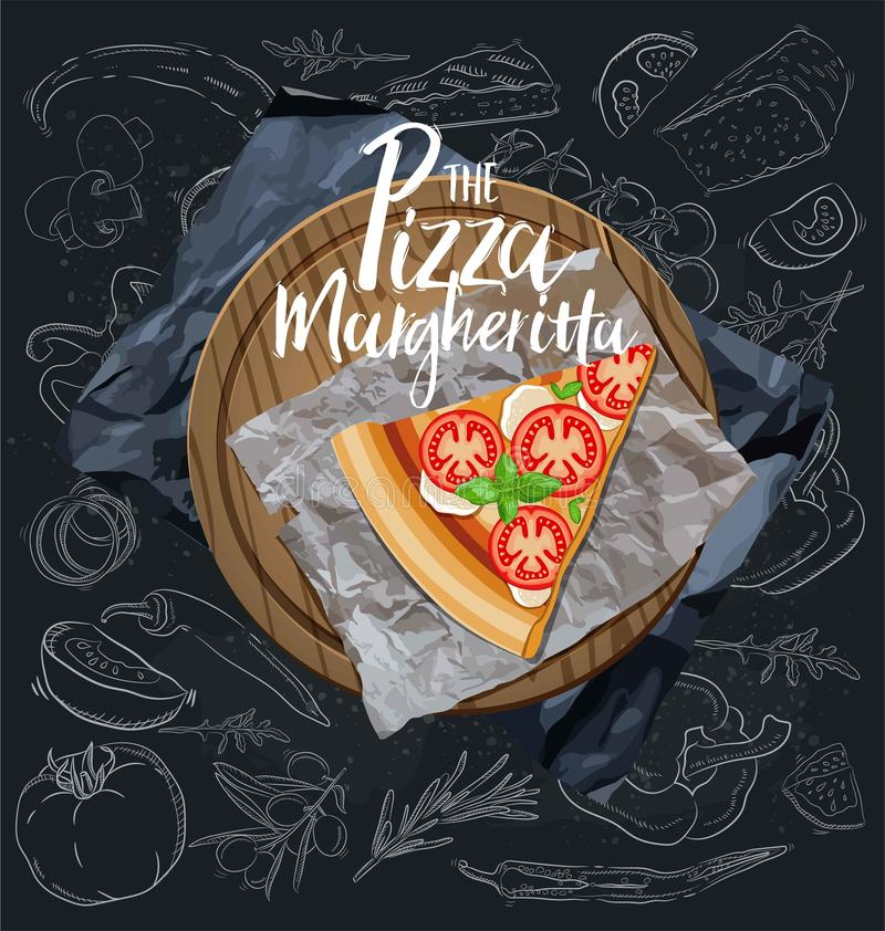 The Pizza Margarita slice with background. Vector graphics. The Pizza Margherita slice with background. Vector graphics stock illustration