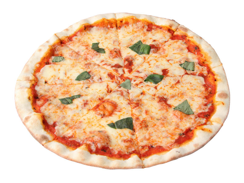 Pizza margherita. Isolated over white background royalty free stock photos