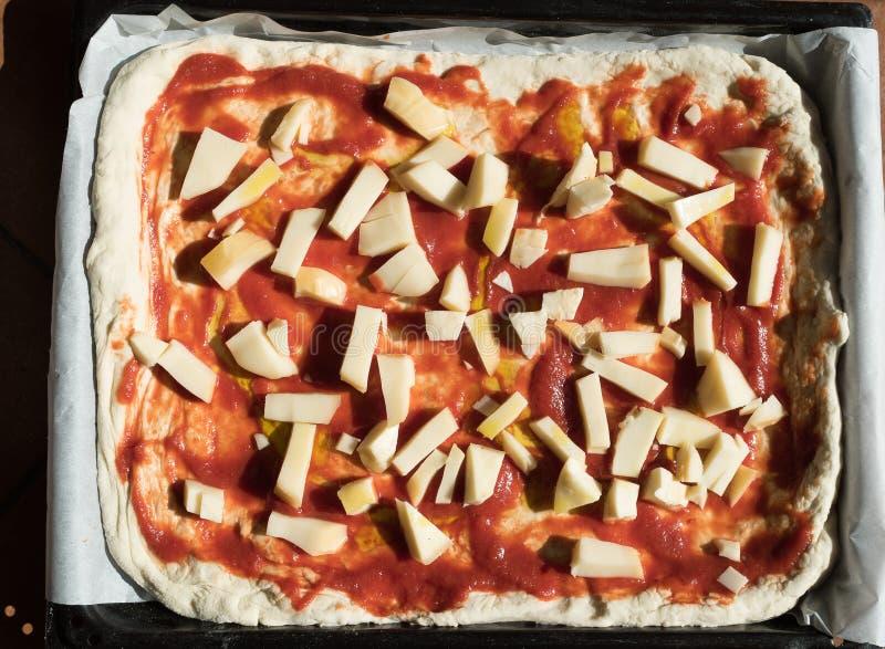 Pizza Margherita homemade stock image