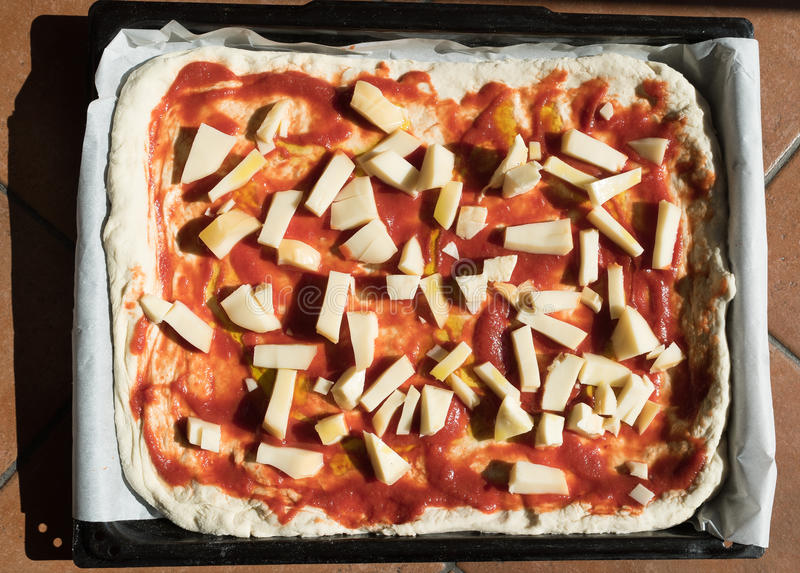 Pizza Margherita homemade royalty free stock images