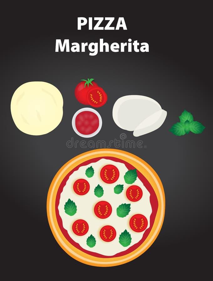 Pizza Margherita met ingrediënten vector illustratie