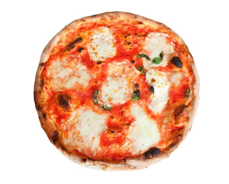 Pizza Margherita with slices of mozzarella. On white background stock photo