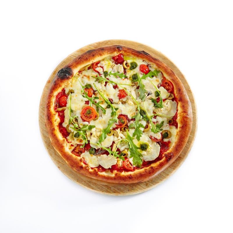 Pizza Marinara z sardelą Odizolowywającą na Białym tle obraz royalty free
