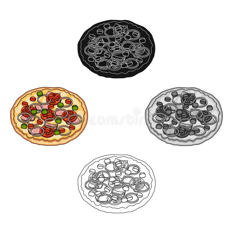 Pizza with meat, cheese and other filling. Different pizza single icon in cartoon,black style vector symbol stock royalty free illustration