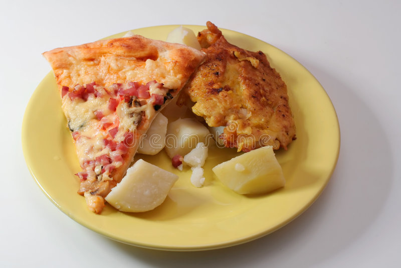 Pizza, Meat and Potatoes stock photography