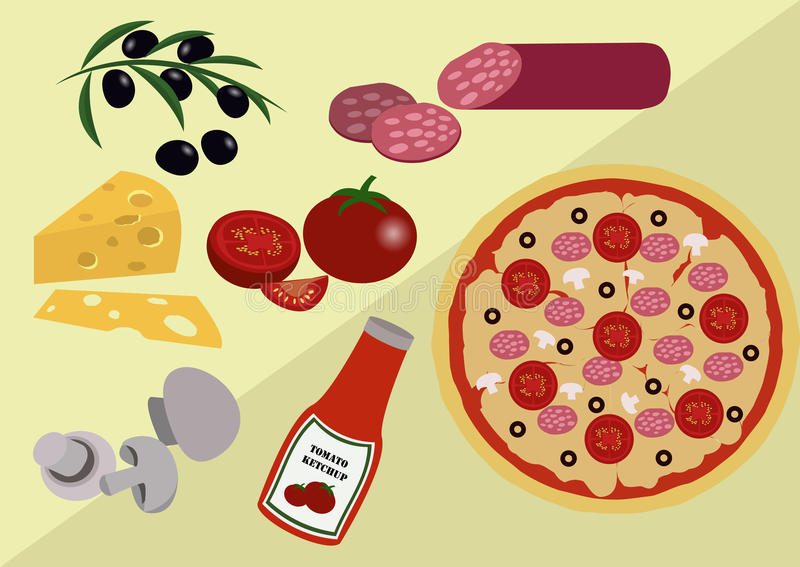 Download Pizza med dess Ingridients stock illustrationer. Illustration av kokkonst - 76702911