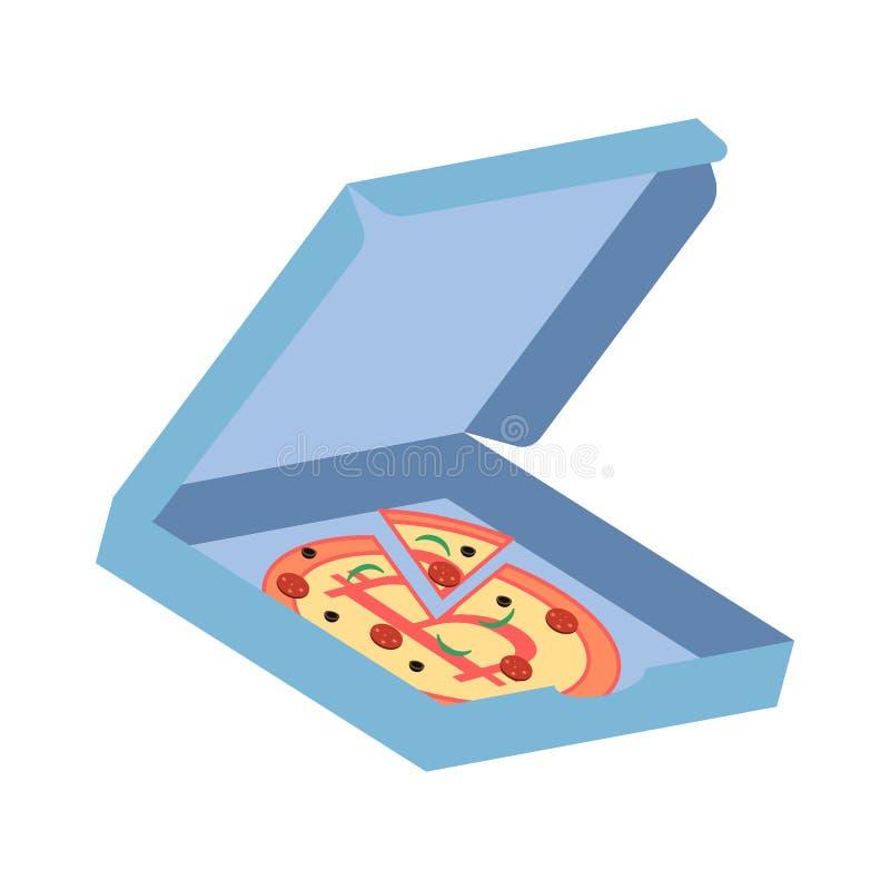 Pizza med det Bitcoin symbolet i den blåa asken Vektorillustration på den vita bakgrunden stock illustrationer