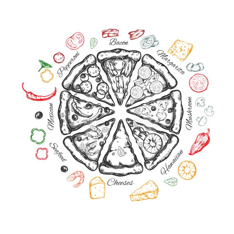 Pizza med ingredienser royaltyfri illustrationer