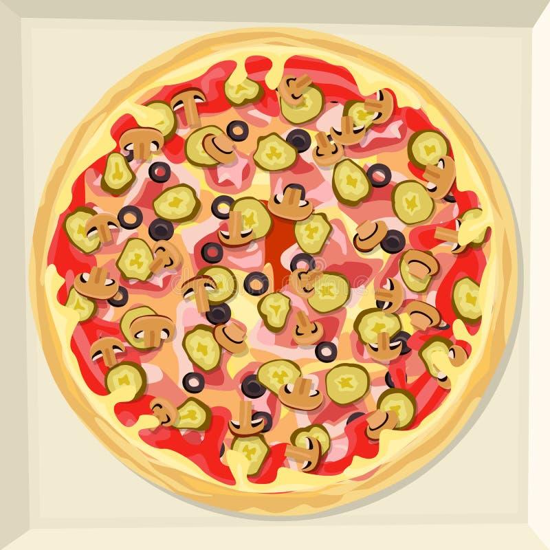 Pizza med ost, skinka, ketchup, inlagda grönsaker och champinjoner vektor illustrationer