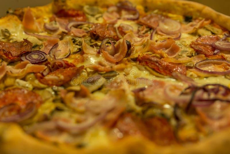 Pizza med salami, skinka, löken, oliv, fokuserade i moddlen royaltyfri fotografi