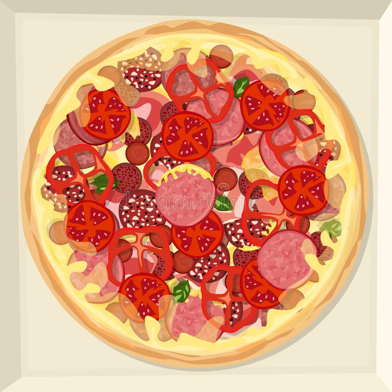 Pizza med skinka, olika variationer av korven, ost, ketchup, grönsaker och örter royaltyfri illustrationer
