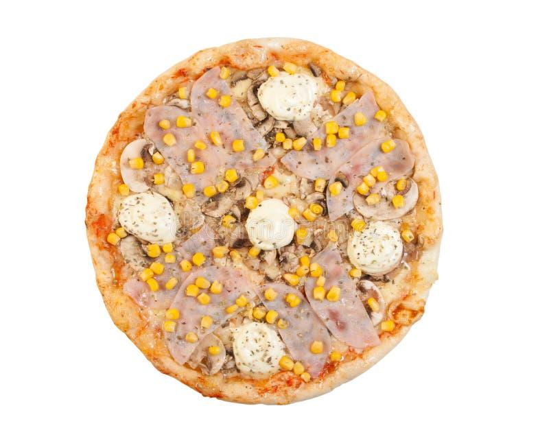 Pizza med skinka, ost, mayonnaise, champinjoner och havre arkivfoton