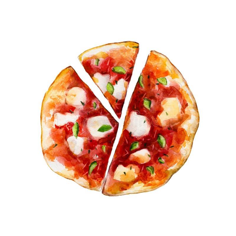 Pizza med smältt mozzarellaost och basilika, vattenfärgillustration royaltyfri illustrationer