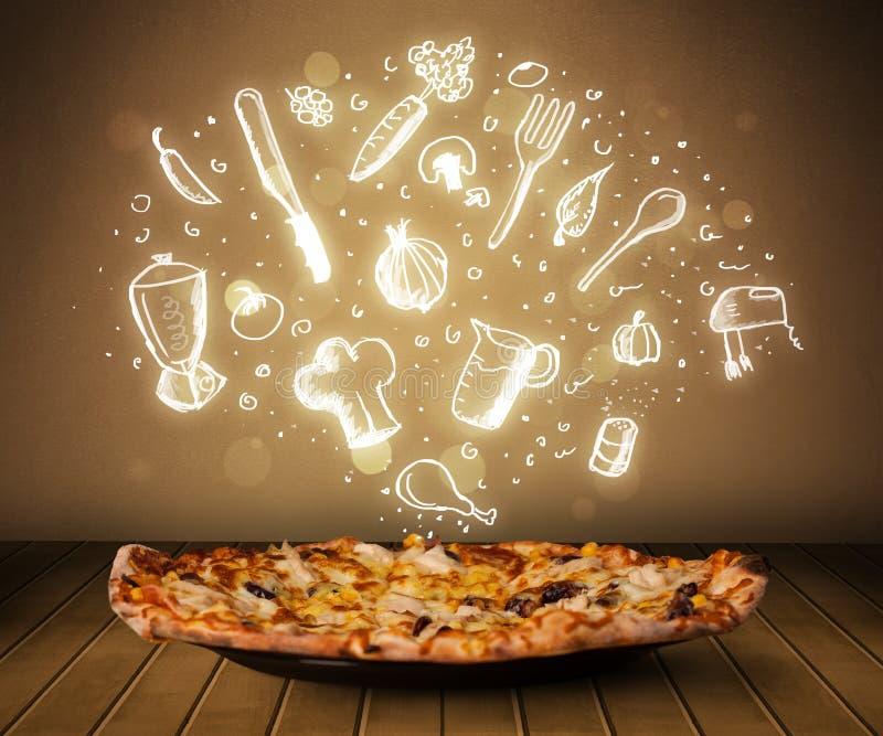 Pizza med vita restaurangsymboler och symboler royaltyfri foto