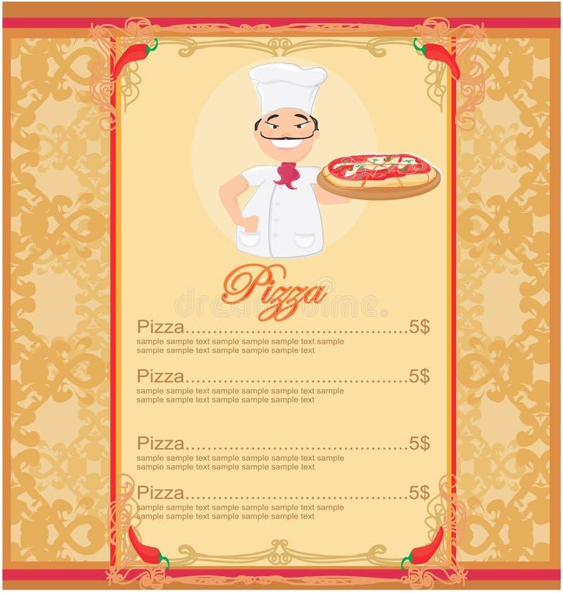 Pizza-Menü-Schablone vektor abbildung. Illustration von korporativ ...