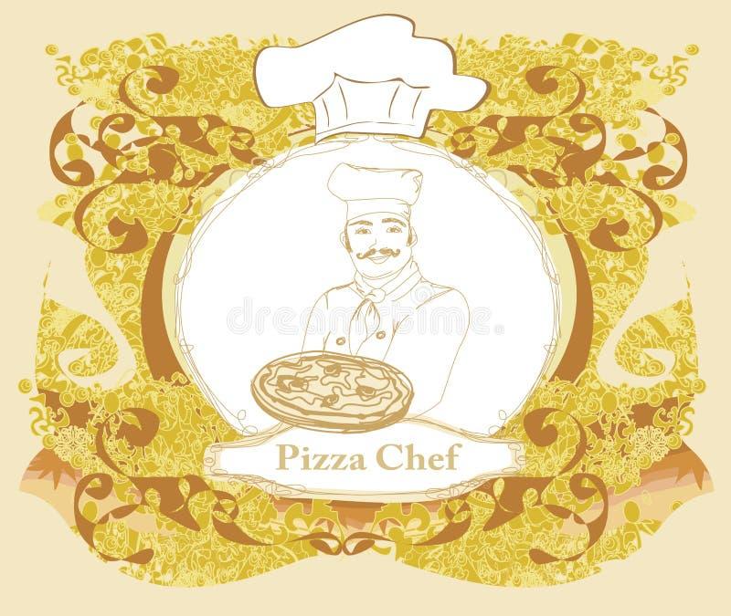 Pizza-Menü-Schablone, Weinlese-Karte vektor abbildung
