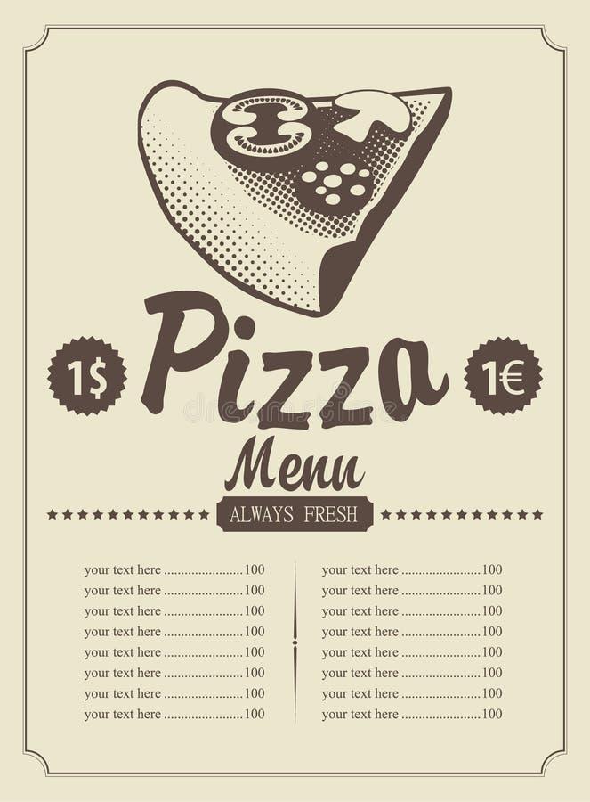 Pizza menu ilustracji