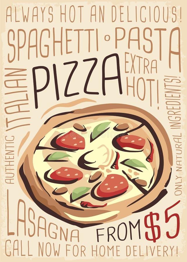 Pizza menu Artystyczny menu projekt ilustracja wektor