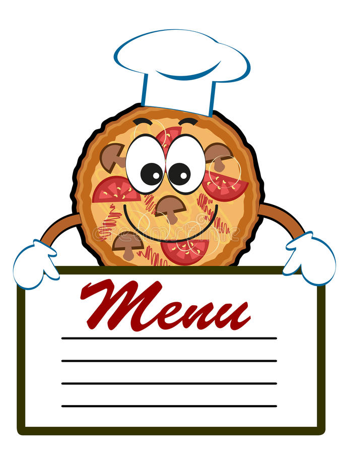 Pizza with menu. royalty free illustration