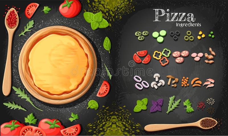 Pizza menu chalkboard kreskówki tło z świeżych składników pizzeria ulotki ilustracyjnym tłem Dwa horizont ilustracji