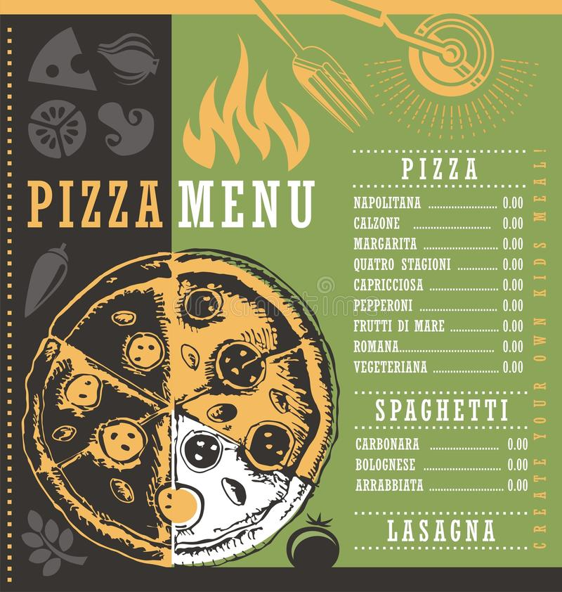 Pizza menu document print template with pizza drawing stock illustration
