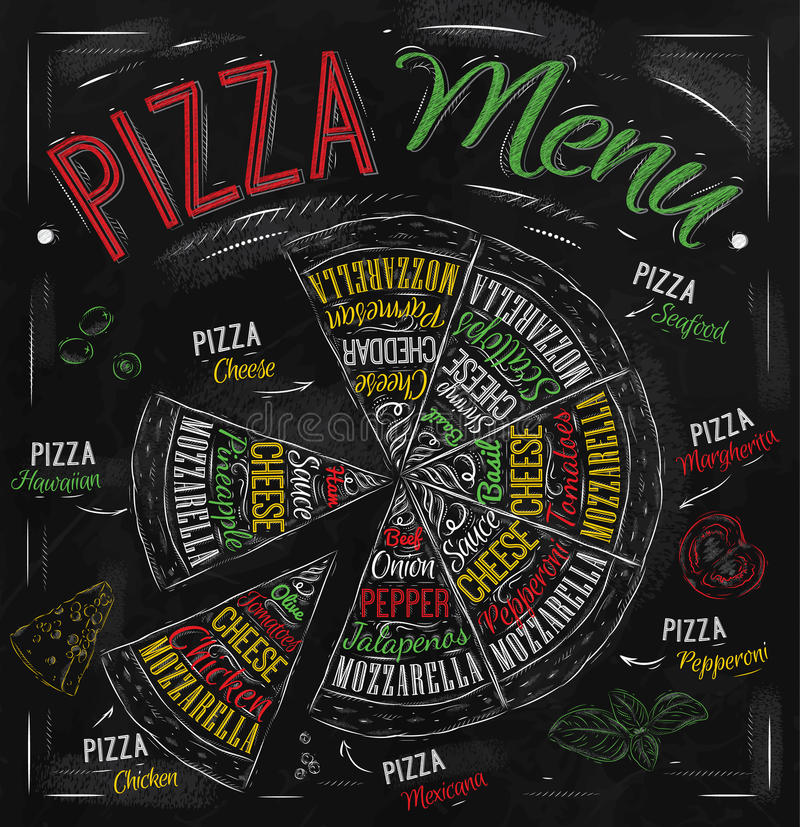 Pizza menu drawing with color chalk. vector illustration