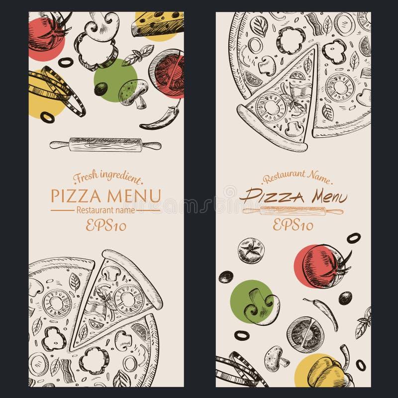 Pizza menu kawiarni karmowa broszurka rysunkowy szablon zdjęcia royalty free