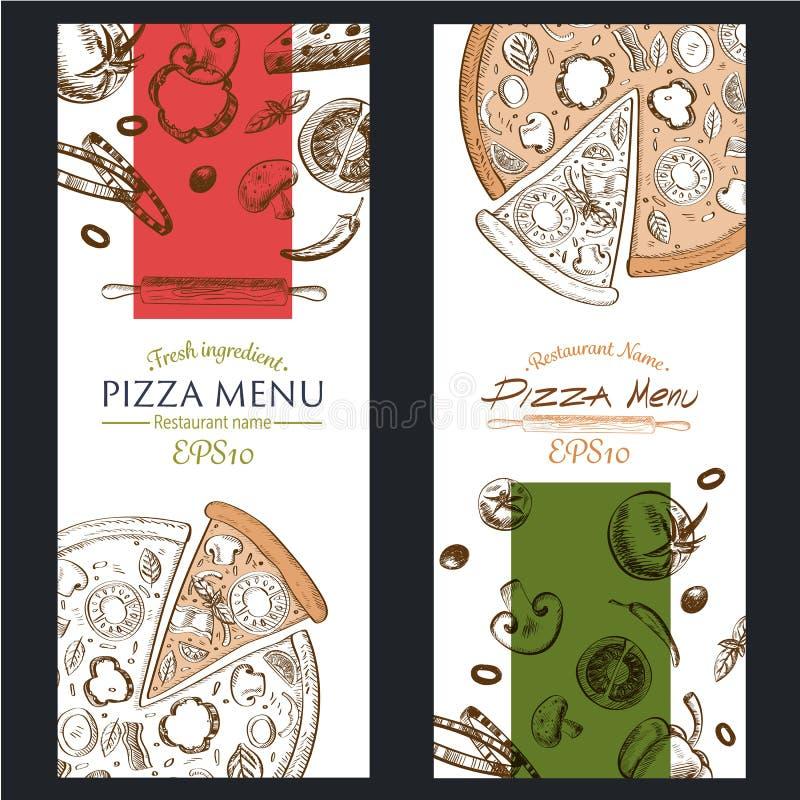 Pizza menu kawiarni karmowa broszurka rysunkowy szablon fotografia royalty free