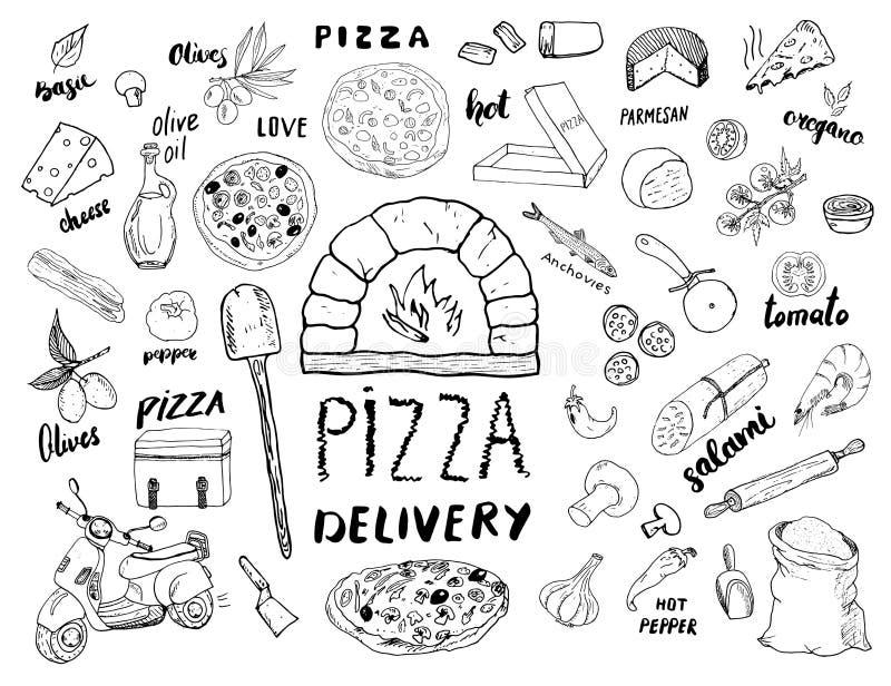 Pizza menu nakreślenia ręka rysujący set Pizzy dostawy i przygotowania doodles z inni, t ilustracji