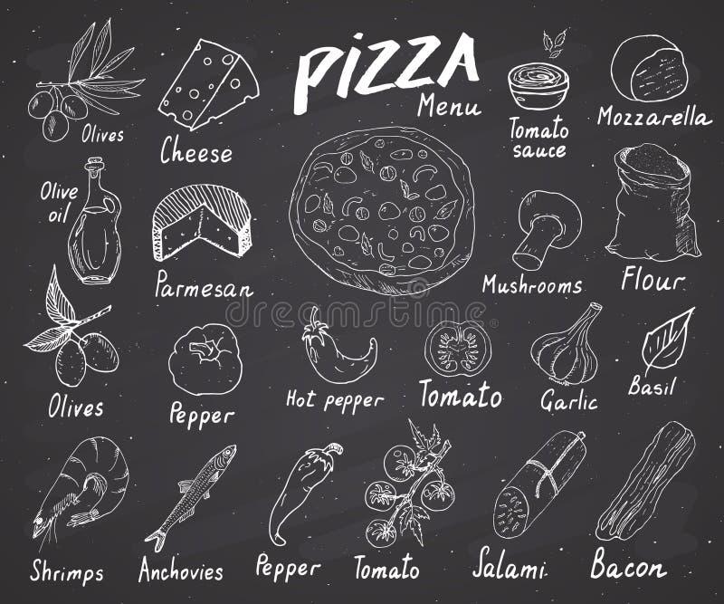 Pizza menu nakreślenia ręka rysujący set Pizzy przygotowania projekta szablon z serem, oliwkami, salami, pieczarkami, pomidorami, ilustracji