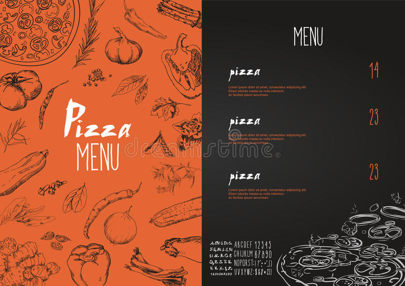 Pizza menu the names of dishes of Pizza, Vector set stock illustration