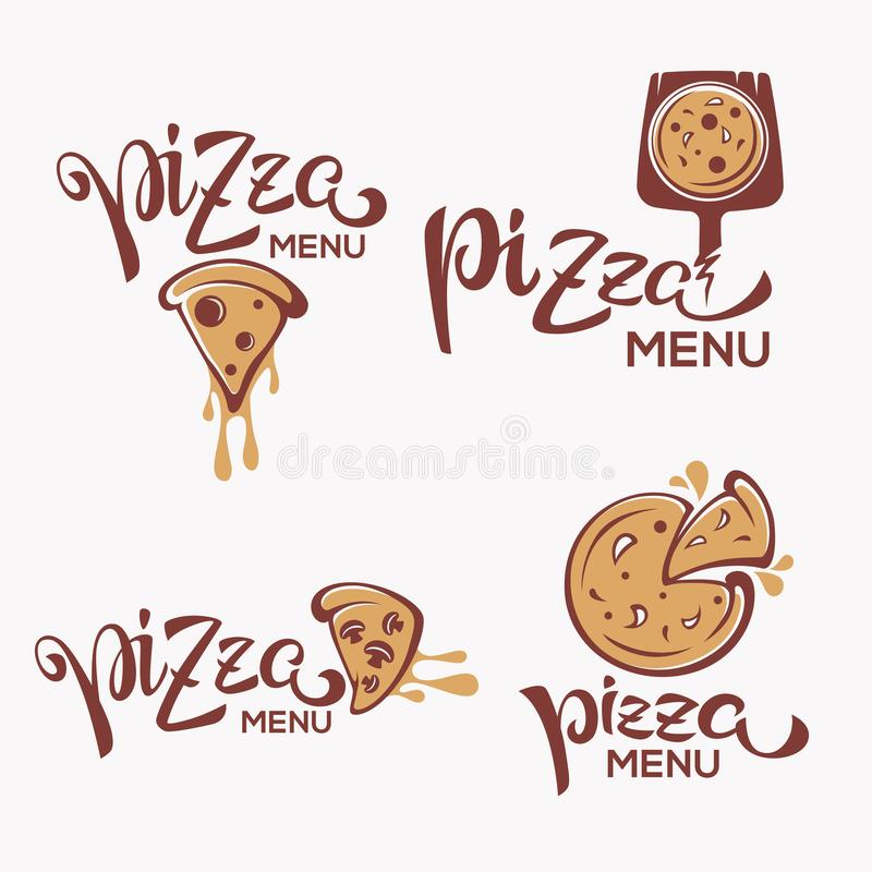 Pizza Menu, pizza slice with lettering composition for yout logo, emblem, label. Pizza Menu, pizza slice with lettering composition stock illustration