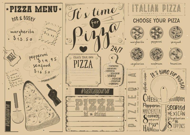 Pizza Menu Placemat vector illustration