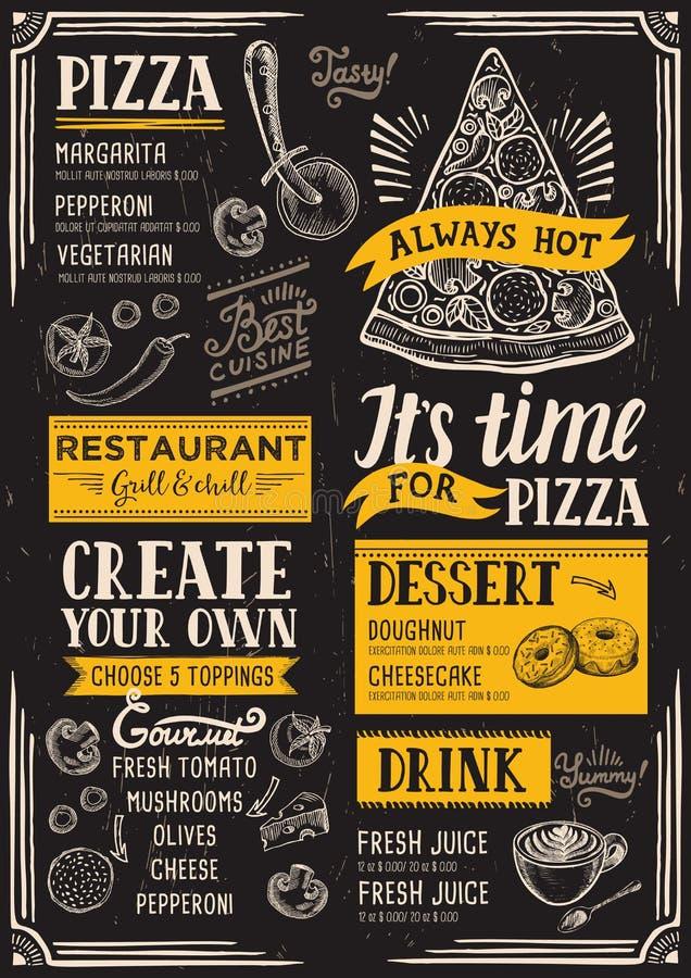 Pizza menu restauracja, karmowy szablon ilustracji