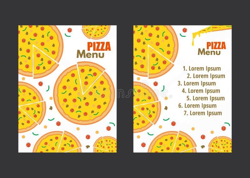 Pizza menu vector background. Restaurant cafe menu, template design. Pizza menu background. Vector illustration. Restaurant cafe menu, template design royalty free illustration