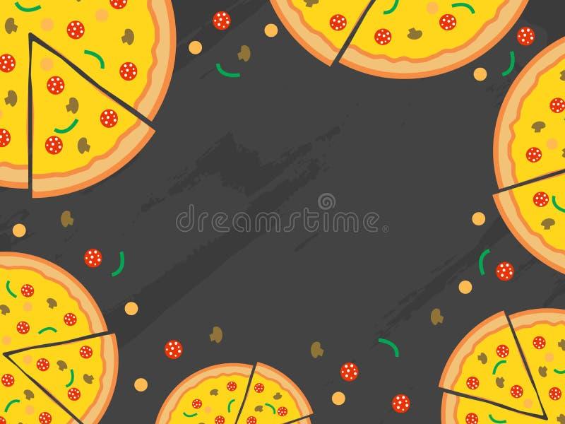 Pizza menu vector background. Restaurant cafe menu, template design. Pizza menu background. Vector illustration. Restaurant cafe menu, template design vector illustration
