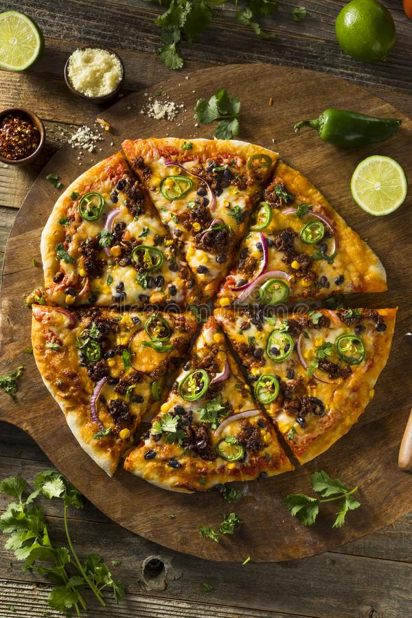Pizza messicana piccante casalinga del taco fotografie stock
