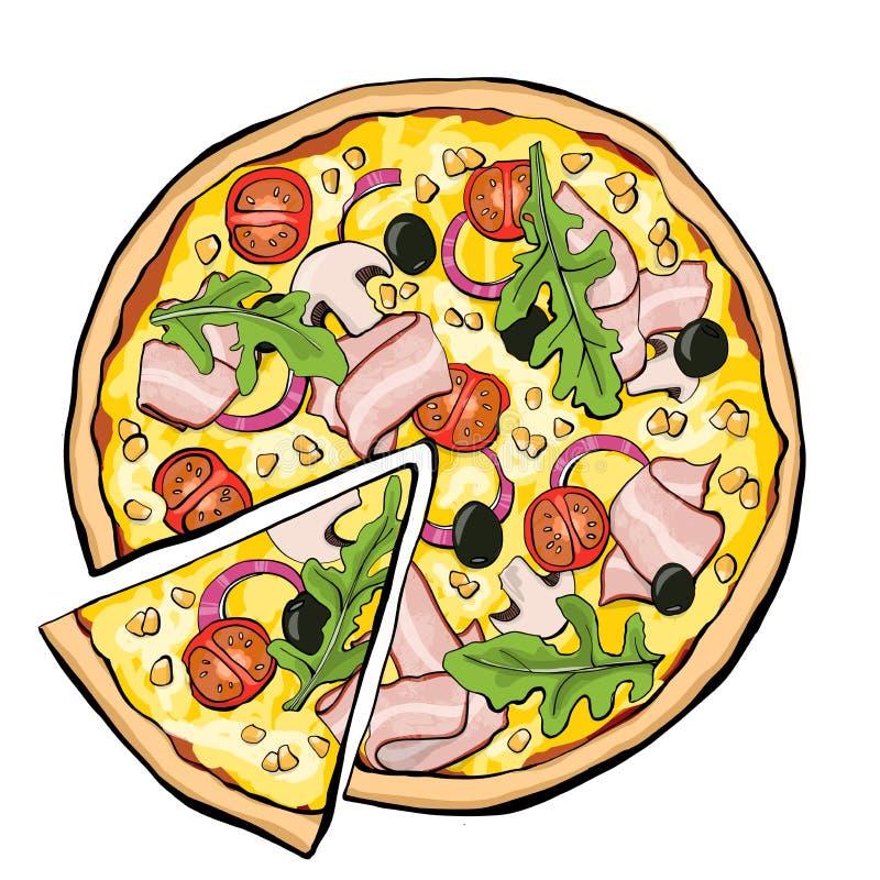 Pizza met bacon, plak stock illustratie