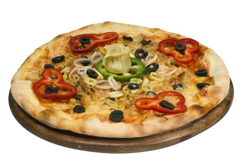 Pizza met geïsoleerdel olijf stock foto