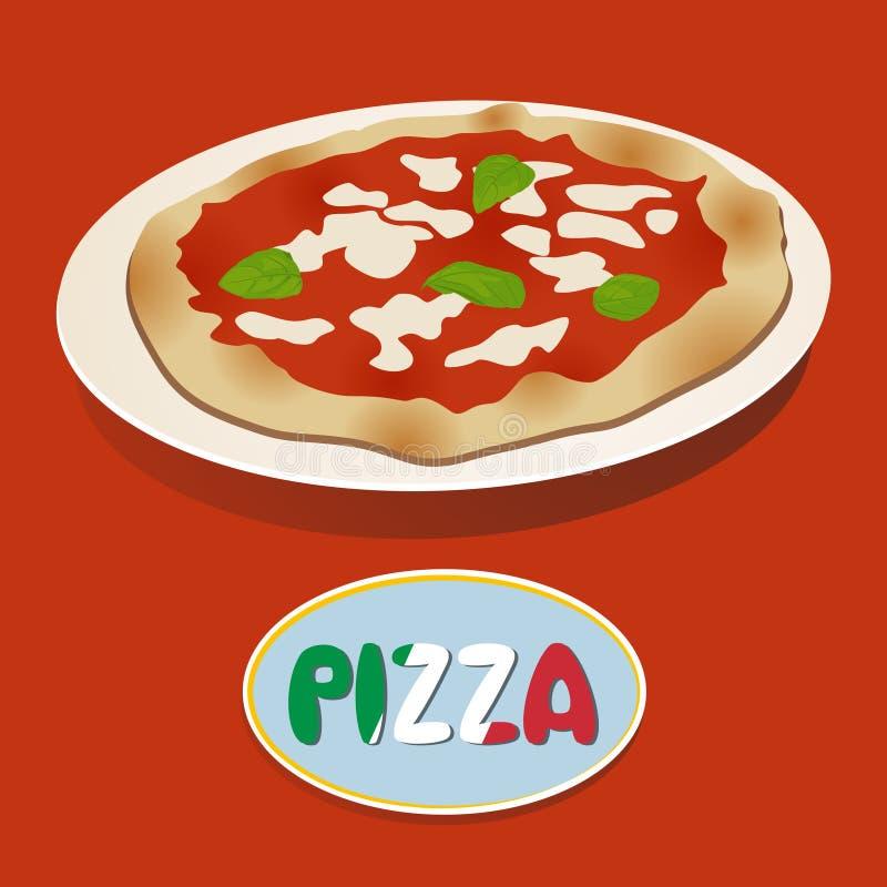 Pizza met mozarella stock illustratie