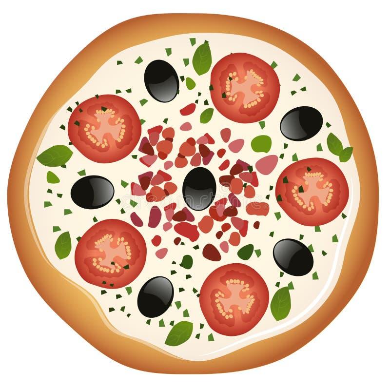 Pizza met mozarellakaas, tomaat en zwarte olijven met ham, orego en basilicum vector illustratie