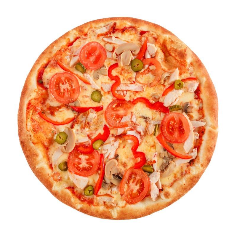 Pizza met pastrami, paddestoelen, peper en komkommer op wit wordt geïsoleerd dat stock fotografie