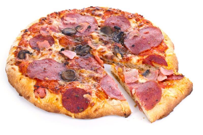 Pizza met plak royalty-vrije stock fotografie