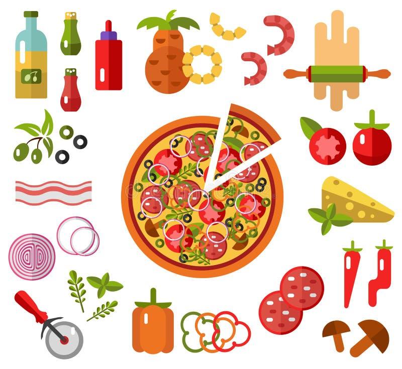Pizza met plak en ingrediënten royalty-vrije illustratie