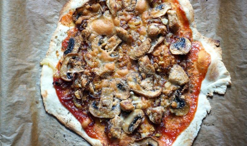 Pizza met rode souce stock foto