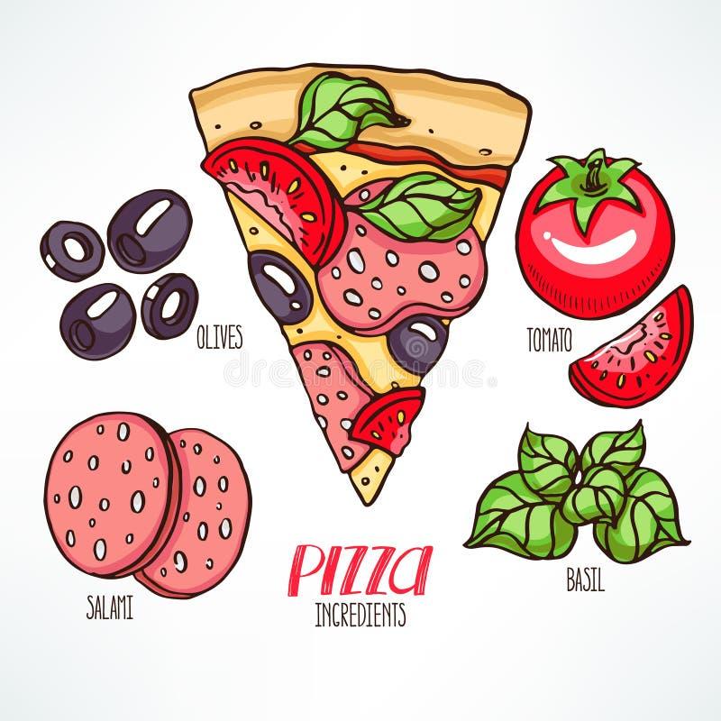 Pizza met salami en basilicum vector illustratie