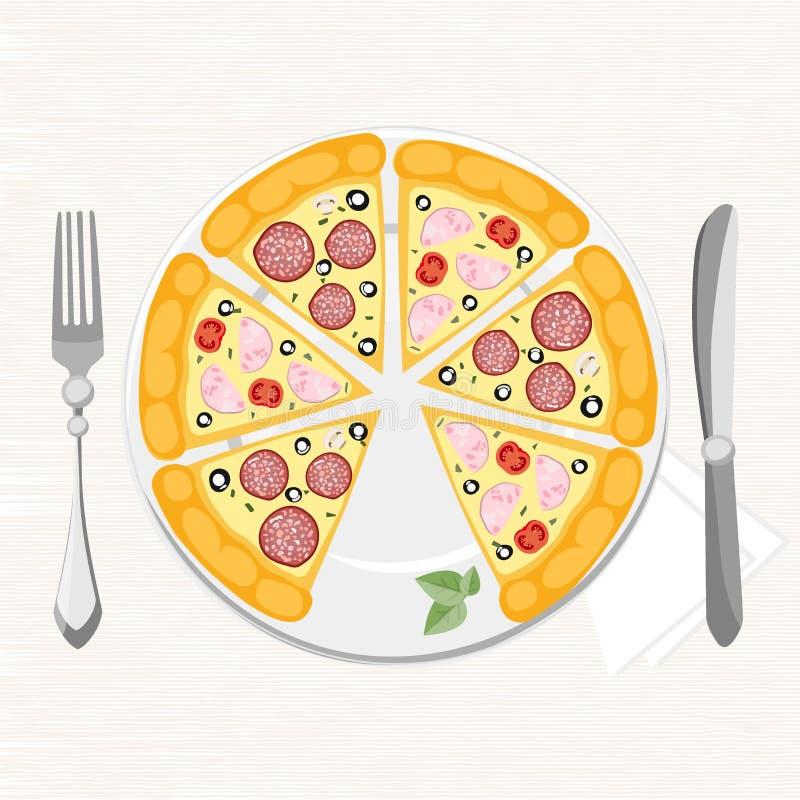 Pizza met verschillende ingrediënten op een plaat stock foto's