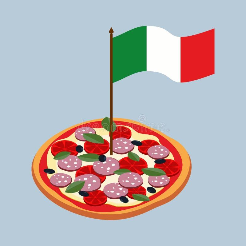 Pizza met vlag van Italië Italiaans nationaal voedsel vector illustratie