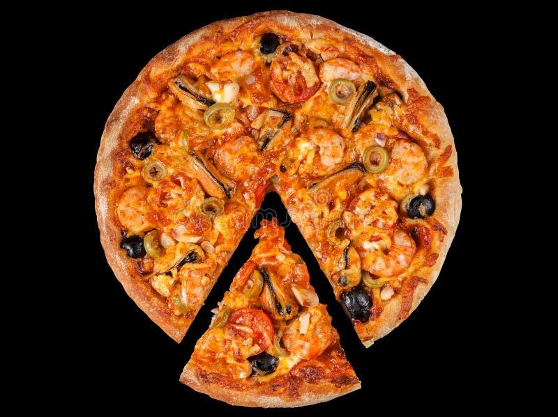 Download Pizza Met Zeevruchten Srimp Op Zwarte Stock Foto - Afbeelding bestaande uit pizza, studio: 39117752