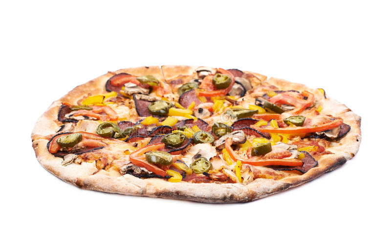 Pizza mexicaine d'isolement images stock